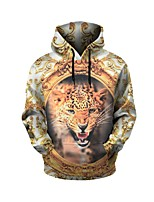 cheap -Men's Daily Leopard Hooded Hoodie Short, Long Sleeves Spring Fall Spandex