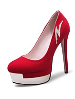 cheap -Women's Shoes Nubuck leather Spring Fall Comfort Heels Stiletto Heel Round Toe Rhinestone for Wedding Party & Evening Black Red