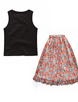 cheap -Girls' Daily Solid Colored Floral Clothing Set, Cotton Polyester Summer Sleeveless Basic Boho Black