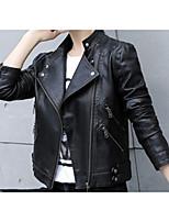 Недорогие -Жен. Кожаные куртки Классический-Однотонный Крупногабаритные