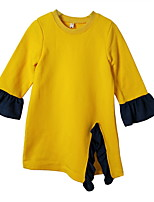 cheap -Girl's Daily Color Block Dress, Polyester Spring Long Sleeves Simple Yellow
