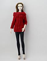 Недорогие -Отдельные органов Брюки Кофты и свитера Для Кукла Барби Красный + черный текстильный Искусственная шерсть Кофты Брюки Для Девичий игрушки
