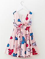 abordables -Robe Fille de Quotidien Vacances Rayé Motif Animal Polyester Eté Sans Manches simple Actif Bleu Rose Claire