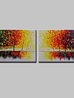abordables -Pintada a mano Paisaje Floral/Botánico Horizontal, Modern Lona Pintura al óleo pintada a colgar Decoración hogareña Dos Paneles