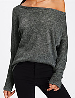 cheap -Women's Active Basic Batwing Sleeve Loose T-shirt - Solid Colored Boat Neck