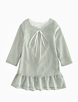 cheap -Girl's Daily Solid Dress, Cotton Linen Bamboo Fiber Acrylic Spring Long Sleeves Simple Vintage Gray
