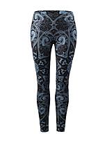 abordables -Mujer Básico Deportivo Legging - Floral Bloques, Estampado Media cintura