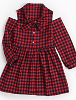 cheap -Girl's Daily Check Dress, Cotton Spring Summer Long Sleeves Simple Red