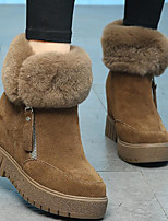 cheap -Women's Shoes Cowhide Fall Winter Snow Boots Boots Wedge Heel Booties/Ankle Boots for Casual Black Khaki