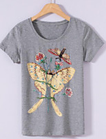 cheap -Women's Chinoiserie Cotton T-shirt - Embroidery, Sporty