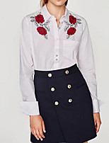 cheap -Women's Basic Shirt - Solid Colored, Embroidered Shirt Collar