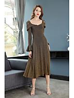 abordables -Femme Rétro Ample Robe - Plissé, Couleur Pleine Midi