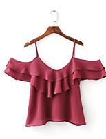 economico -T-shirt Per donna Tinta unita Con bretelline Senza spalline