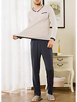 abordables -Col en U Costumes Pyjamas Homme Couleur Pleine