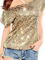 preiswerte -Damen Solide T-shirt, Ein-Schulter Druck Fledermaus Ärmel