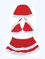cheap -Girls' Cute Polka Dot Swimwear, Cotton Polyester Sleeveless Red