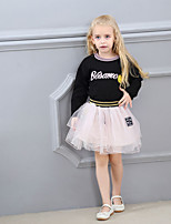 cheap -Girls' Daily Sports Print Clothing Set, Cotton Polyester Spring Summer Long Sleeves Cute Active Black Blushing Pink