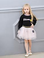 abordables -Fille Quotidien Sports Imprimé Ensemble de Vêtements, Coton Polyester Printemps Eté Manches Longues Mignon Actif Noir Rose Claire