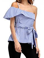 cheap -Women's Basic Puff Sleeve Shirt - Striped, Print One Shoulder