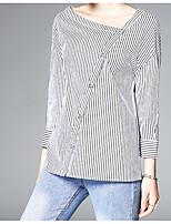 Недорогие -Жен. Рубашка, V-образный вырез Полоски