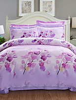 cheap -Duvet Cover Sets Floral Poly / Cotton 100% Cotton Jacquard 4 Piece