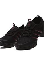 cheap -Women's Dance Sneakers Tulle Canvas Sneaker Outdoor Crystal/ Rhinestone Chunky Heel Black 1 - 1 3/4 Customizable