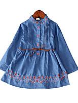 baratos -Menina de Vestido Diário Feriado Sólido Primavera Algodão Poliéster Manga Longa Simples Casual Azul