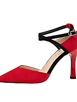 cheap -Women's Shoes Suede Spring Fall Comfort Heels Stiletto Heel Closed Toe for Office & Career Black Beige Gray Red