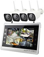 preiswerte -4ch drahtlose nvr kit 12,5 zoll bildschirm 4 stücke ip-kamera 960 p wasserdicht ir nachtsicht sicherheitssystem