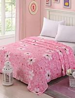 baratos -Velocino de Coral, Acolchoado Floral Algodão / Poliéster Poliéster cobertores