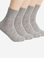 cheap -Men's Normal Medium Socks, Cotton Solid Four-piece Suit Black Dark Gray Navy Blue Light gray