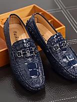 Недорогие -Муж. обувь Искусственное волокно Весна Осень Удобная обувь Мокасины и Свитер для Повседневные Черный Серебряный Синий