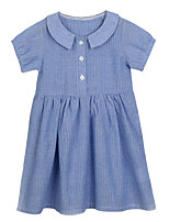 cheap -Girl's Daily Solid Dress, Cotton Linen Polyester Spring Summer Short Sleeves Simple Active Blue