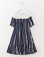 cheap -Girl's Striped Dress Summer Simple Rainbow