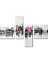 cheap -Oil Painting Hand Painted - Abstract Architecture Comtemporary Modern Canvas Four Panels