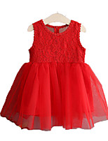 cheap -Girl's Daily Holiday Solid Floral Dress, Cotton Polyester Summer Sleeveless Simple Active White Red
