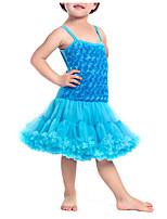 preiswerte -Mädchen Kleid Solide Polyester Frühling Ärmellos Niedlich Aktiv Leicht Blau