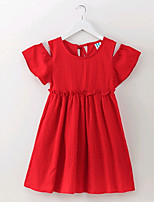 cheap -Girl's Solid Dress Summer Simple Red
