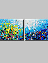 cheap -Hand-Painted Landscape Floral/Botanical Horizontal, Modern Canvas Oil Painting Home Decoration Two Panels