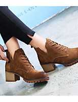 cheap -Women's Shoes Cowhide Fall Winter Bootie Comfort Boots Chunky Heel Booties/Ankle Boots for Casual Black Brown Khaki