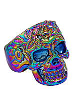 cheap -Men's Statement Ring , Gold Silver Rainbow Alloy Skull Colorful Cool Rock Bar Club Costume Jewelry
