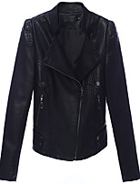 cheap -Women's Vintage Leather Jacket - Solid Colored Shirt Collar