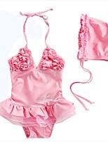cheap -Girls' Cute Solid Swimwear, Cotton Polyester Sleeveless Blushing Pink