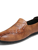 cheap -Men's Shoes Leather Spring Summer Comfort Loafers & Slip-Ons for Casual Outdoor Black Gray Khaki