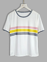 cheap -Women's Street chic T-shirt - Striped, Basic