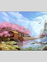 abordables -Pintura al óleo pintada a colgar Pintada a mano Paisaje Horizontal Panorámico, Modern Decoración hogareña Un Panel