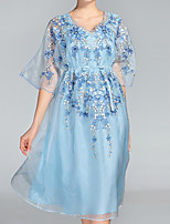 cheap -PROVERB Women's Loose Dress - Solid, Basic High Waist V Neck