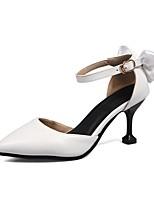 preiswerte -Damen Schuhe Kunstleder Frühling Sommer Komfort High Heels Stöckelabsatz Spitze Zehe für Hochzeit Weiß Schwarz Rosa