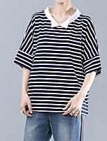 cheap -Women's Basic Loose T-shirt - Striped Shirt Collar