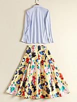 abordables -Femme Actif Coton Mince Set - Couleur unie Jupe Col de Chemise